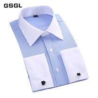 Men French Cufflinks Shirt New Men's Stripes Shirt Long Sleeve Casual Male Brand Shirts Slim Fit French Cuff Dress Shirts
