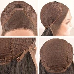 Image 5 - Peruca de cabelo sintético, fantasia beauty 180%, densidade 26 polegadas, frontal, natural, castanho, reto, ondulado, resistente ao calor, fantasia