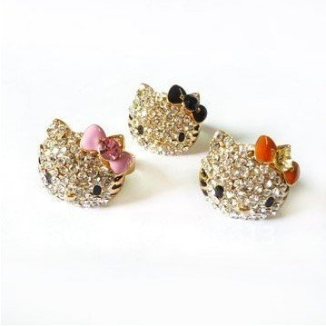 Free shipping new  Lovely crystal hello kitty ring, high quality silver plated cat ring adjustable size 12pcs/lot
