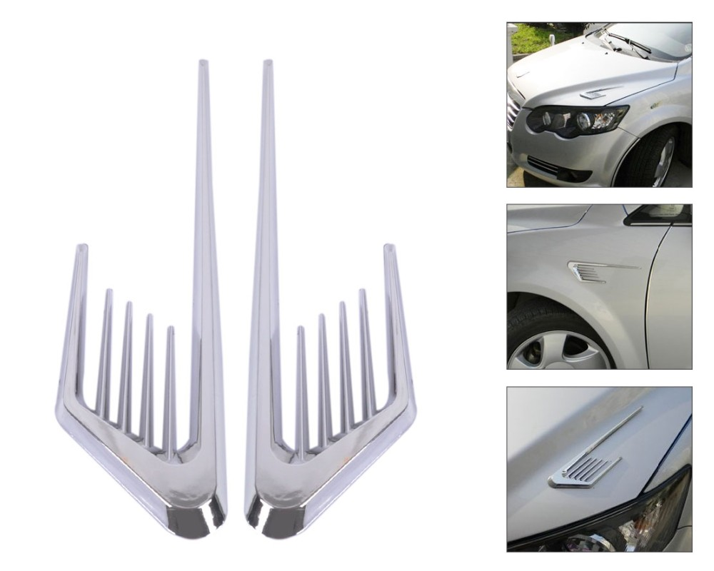 Chrome Auto Side Decorative Air Vent Fender Cover Sticker for Nissan Qashqai Rogue Safari Sentra Skyline Crossover Stagea Sunny 2017 chromed abs plastic car side air vent fender cover sticker for toyota camry solara celica celsior century corolla fielder