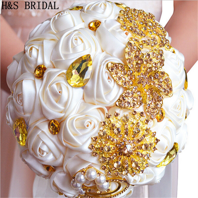 Gorgeous Wedding Flowers Bridal Bouquets Gold Ivory Artificial ...