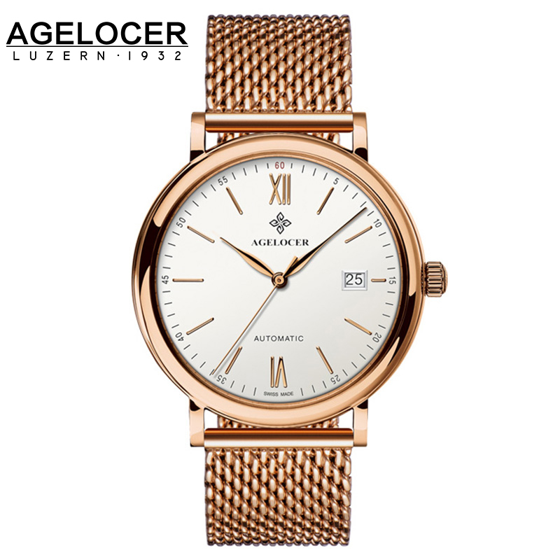 New Agelocer Luxury Men Wrist Watches For Men18K Gold Plated Watch Clock Men Stainless Steel mesh bracelet relogio masculino new clock gold fashion men watch full gold stainless steel quartz watches wrist watch wholesale kezzi gold watch men k1174