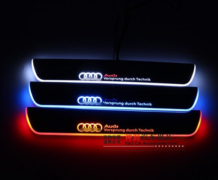 FREE ship, Rear Door Of High Quality Acrylic Moving LED Welcome Scuff Plate Pedal Door Sill For 2013 2014 2015 Audi A4 B9 S4 RS4 free ship rear door of high quality acrylic moving led welcome scuff plate pedal door sill for 2013 2014 2015 audi a4 b9 s4 rs4