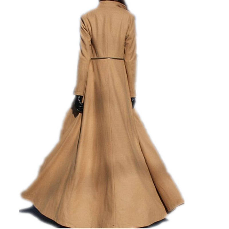 Women Coat Winter Autumn Long Sleeve Maxi Long Design Female Woolen Outerwear