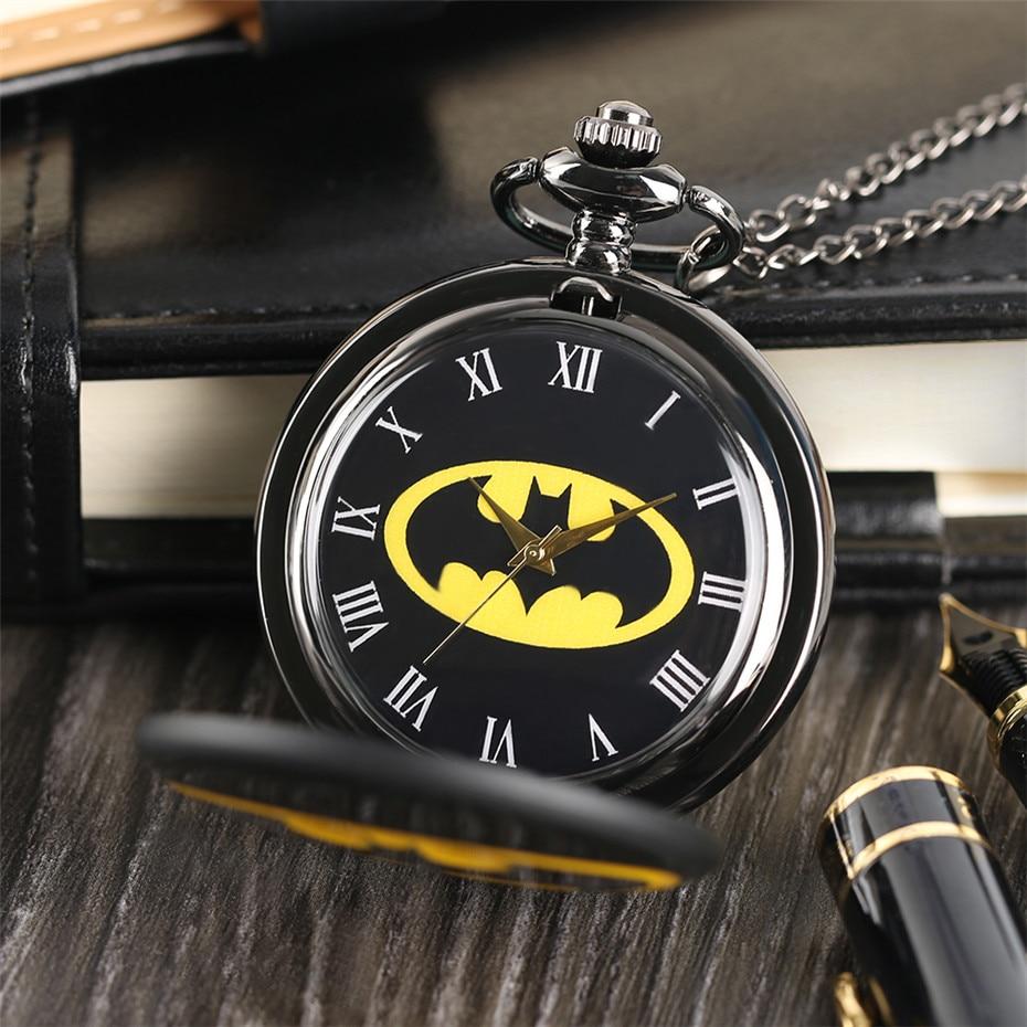 Retro Batman Quartz Pocket Watch For Men Women Smooth Roman Numerals Display Pendant Fob Clock Gift Children Boys With Chain