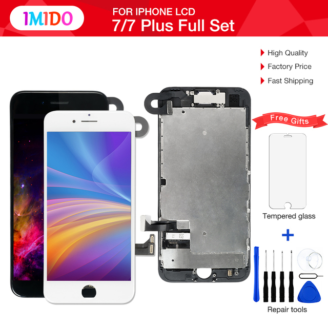 quality design e0f00 9d27a US $29.36 5% OFF|1Pcs OEM LCD For iPhone 7 7 Plus Display Full Set  Digitizer Assembly 3D Touch Screen Replacement +Front Camera+Earpiece  Speaker-in ...