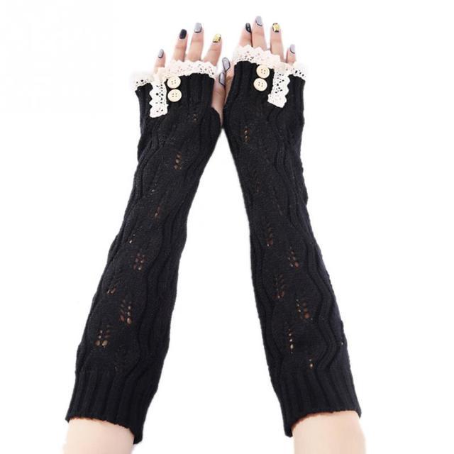 Las nuevas mujeres señora Crochet encaje botón manguitos sin dedos ...