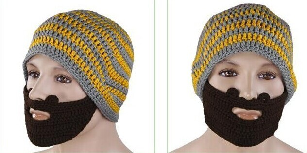 product name funny acrylic handmade black and gery striped skullies knit hat 71690e97193c