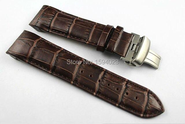 24 мм (Пряжка 22 мм) T035627 T035614 Высокое Качество Серебряная Бабочка Пряжка + Brown Натуральная Кожа Ремешок Для Часов ремни для T035