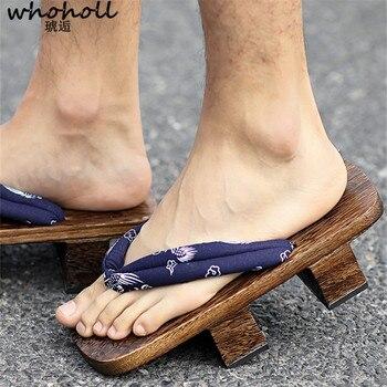 a1723828e23 Wholl Geta japonesa Geta sandalias de hombre zuecos de madera Cosplay de  dos dientes paulownia deslizamientos zapatillas de interior sandalias  amantes ...