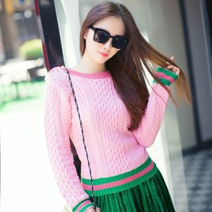 Image 3 - Runway Designer 2020 New Pearls Pink Sweaters Pullover Women Spring Winter Striped Female Knitted Jumper Christmas Clothes