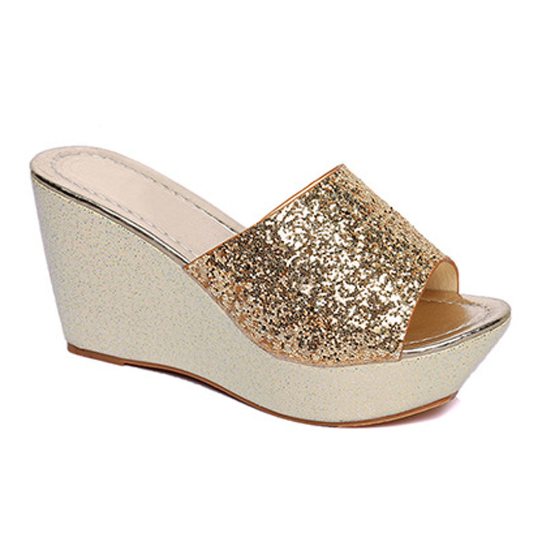 Women's sandals with bling - Summer Cool Slippers High Heeled Sandals Silver Bling Wedge Sandals Glitter Peep Toe Beach Casual Shoes Platform Shoes Women