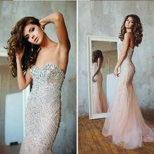 Luxury Prom font b Dresses b font With Rhinestones Off Shoulder Custom Made Long Mermaid font