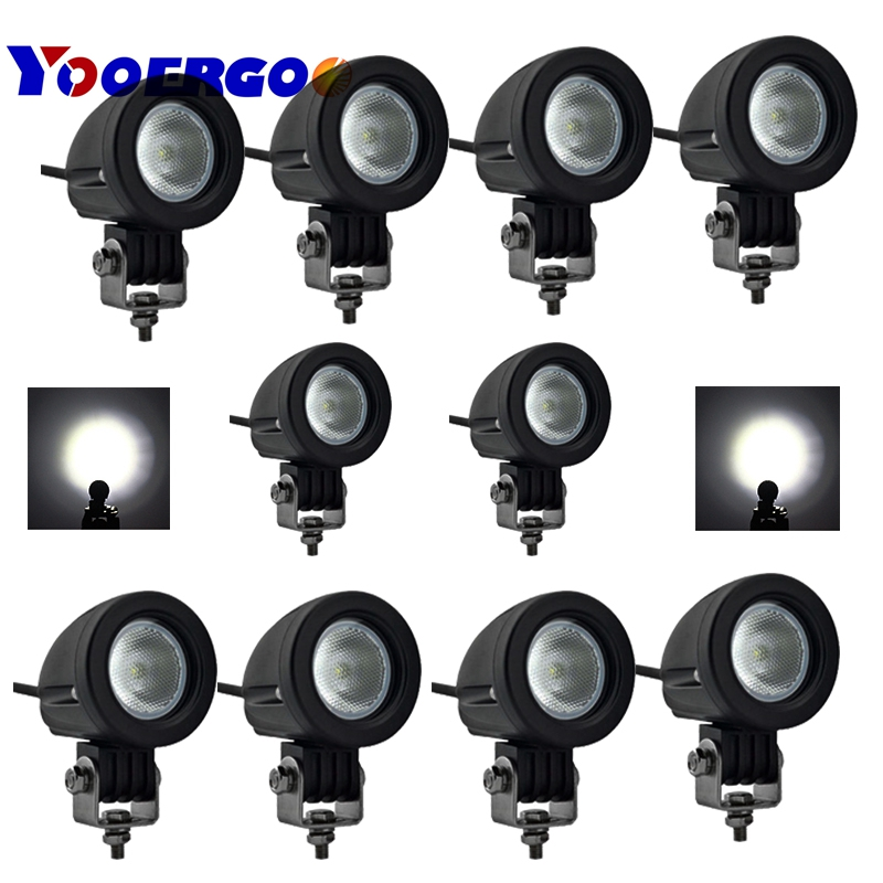 10pcs 10W Round LED Work Light Offroad Car Auto Truck ATV Motorcycle Trailer 4WD Pickup 4X4 12V 24V Headlight Driving Fog Lamp atreus 10pcs 3inch 12w car led work light 12v spot drl lamp for atv 4x4 truck offroad trailer motorcycle boat driving fog lights