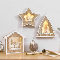 Kids Room Decoration Nordic Style Wall Hangings Night Light Wall Ornament Star House Shaped Wooden Decoration For Kids