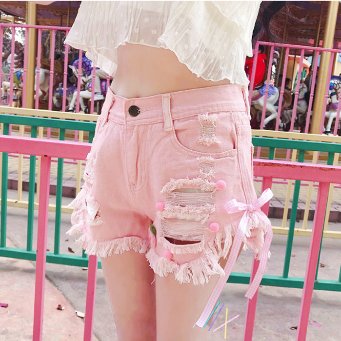 Summer Kawaii Junior's Denim Shorts Women Korea Hollow Out Short Shorts Ins Pink White Bow Jeans Feminino Casual Hole Bottoms