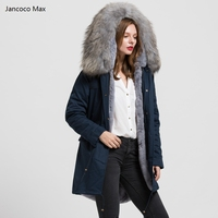 Jancoco Max Navy/ Green/ Black Long Jacket Women Real Raccoon Large Fur Collar Top Warm Parka Fur Lined Coat Detachable S1544
