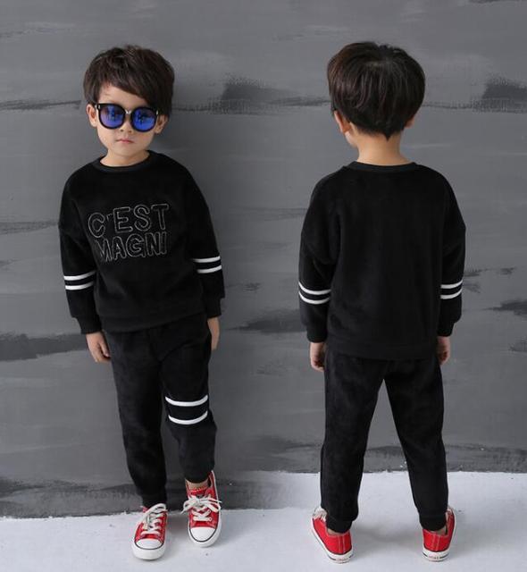 New Winter Child Suit Boys mirco velvet long-sleeved fleece Hoody Sportswear + sports pants suit kids 2pcs set wholesale