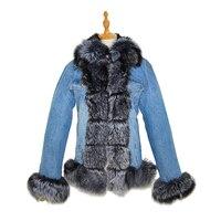 Парка с отделкой из меха лисы; пальто, джинсовая куртка с отделкой из меха лисы и подкладка из кроличьего меха женские зимние теплые.