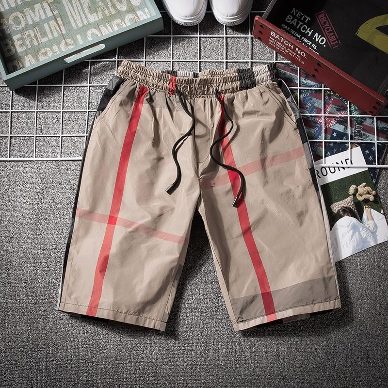 YASUGUOJI New 2019 Summer Casual Checkered Shorts Men Streetwear Fashion Plaid Mens Shorts Elastic Waist Shorts Men Clothing