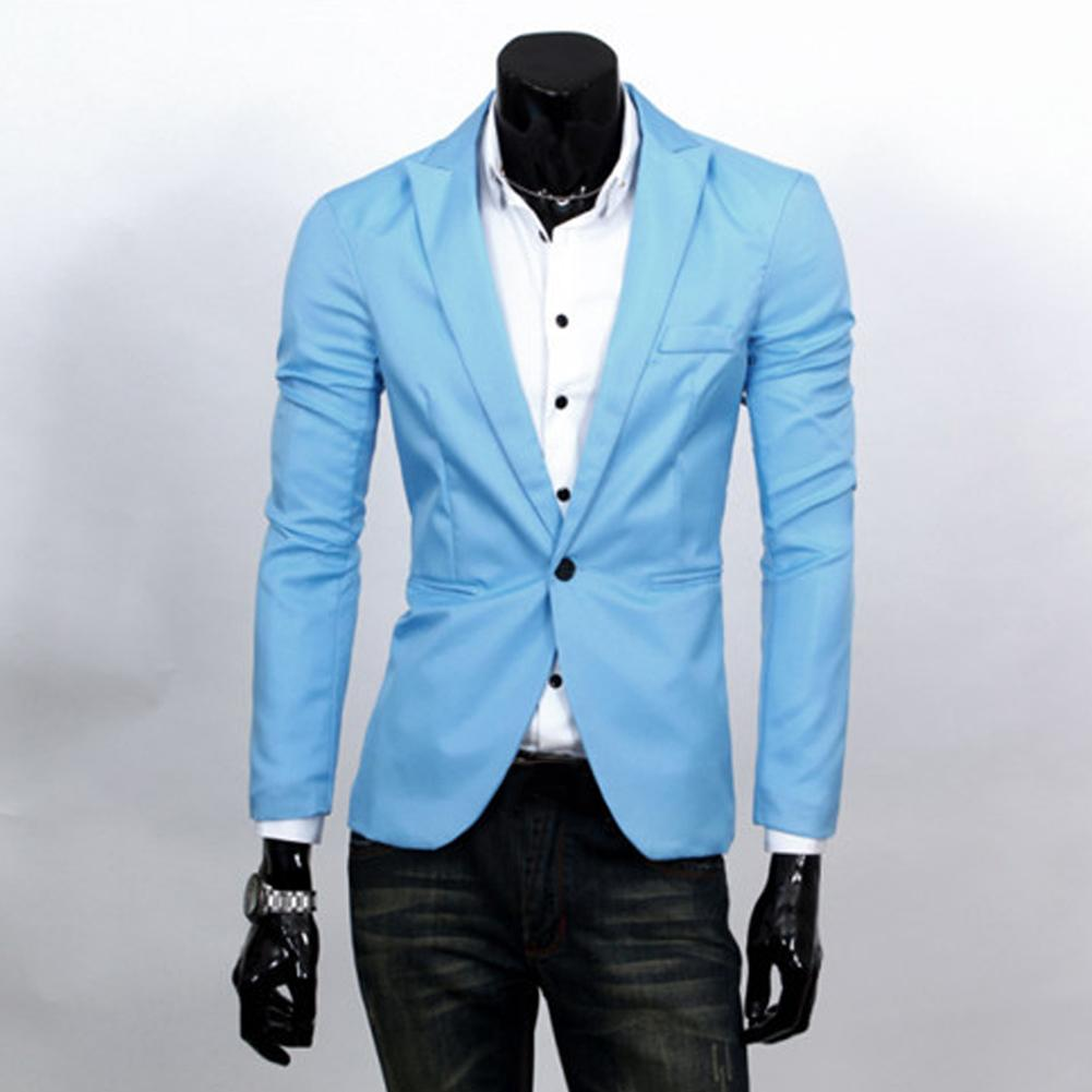 2019 New Fashion Men Slim Fit Solic Color Casual Suit Blazer Coat Jacket Outwear Top