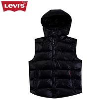 Levi's Casual Men's Down Vest Outwear LEVIS Clothing Winter Duck Down High Quality Hat Light Loose Sleeveless Women Down Vest