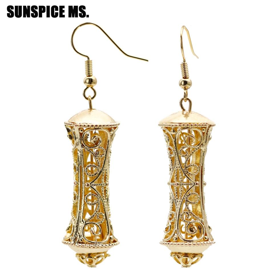 Us 2 38 30 Off Sune Ms Indian Gold Drop Earrings For Women Bridal Wedding Jewelry Long Hollow Pillars Dangle Fashion Bujoux Gifts In