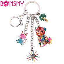 Bonsny Enamel Metal Cat Sunflower Cabbage Pug Dog Hangs Key Chain Key Ring For Women Man Keychain New Trendy Jewelry Accessories(China)