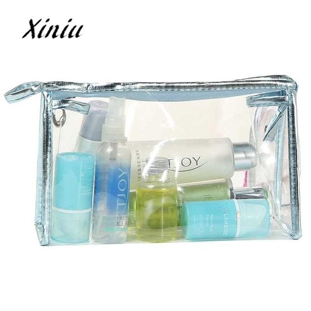 1pc cheap hot sale transparent clear cosmetic bags waterproof solid women ladies makeup storage bag zipper