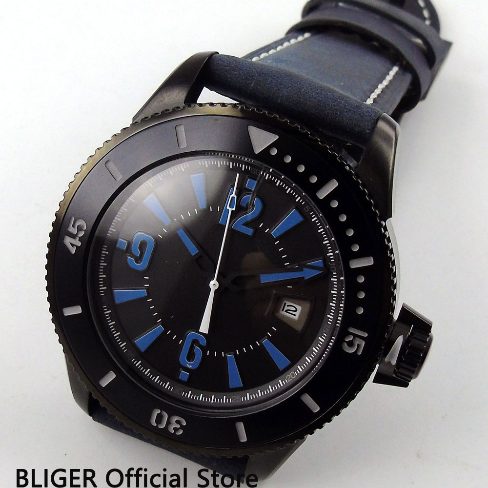 Classic BLIGER 43MM Black Sterile Dial PVD Coated Case Luminous Marks Miyota Automatic Self-Wind Movement Men's Watch BI8