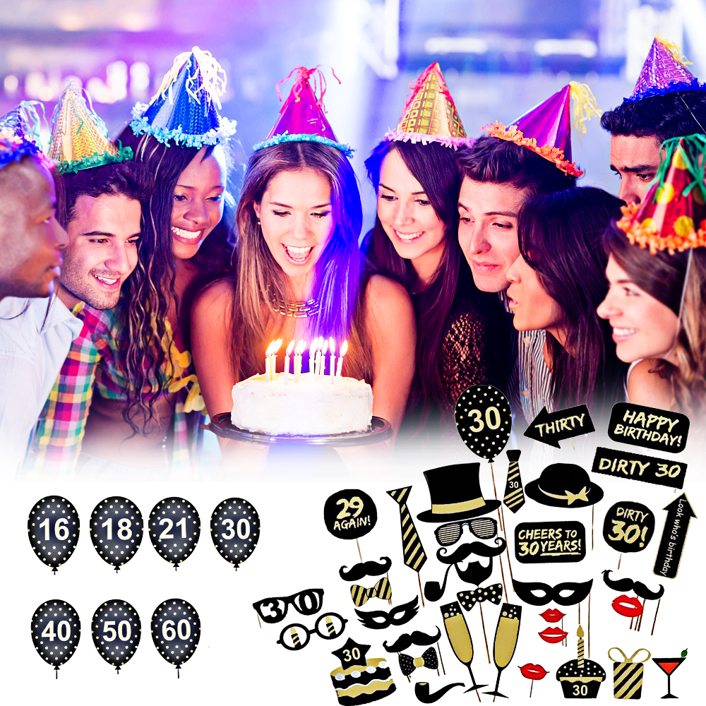 Detail Feedback Questions About 36pcs Set 16 18 21st 30 40 50 60th Birthday Party Gentlemen Hat Mustache Sticks Funny Photo Booth Props DIY Favor Decoration