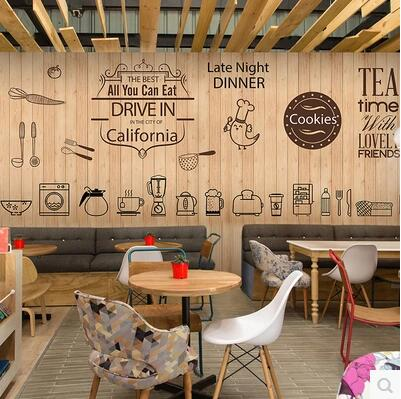 Cute coffee icon large mural wallpaper cafe dessert tea for Cafe mural wallpaper