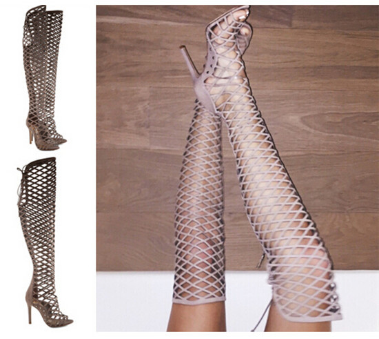 Aliexpress.com : Buy Summer Boots Sexy Strappy Cage Cut Out Lace ...