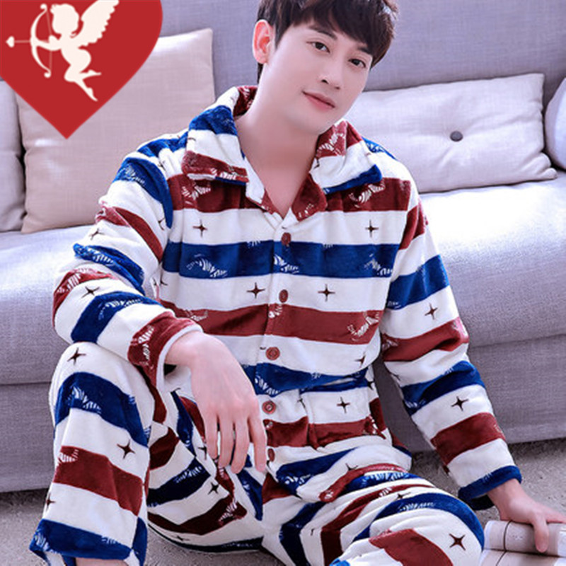 Sleepwear male autumn and winter thickening long-sleeve flannel set lounge male coral fleece casual cardigan spring and autumn
