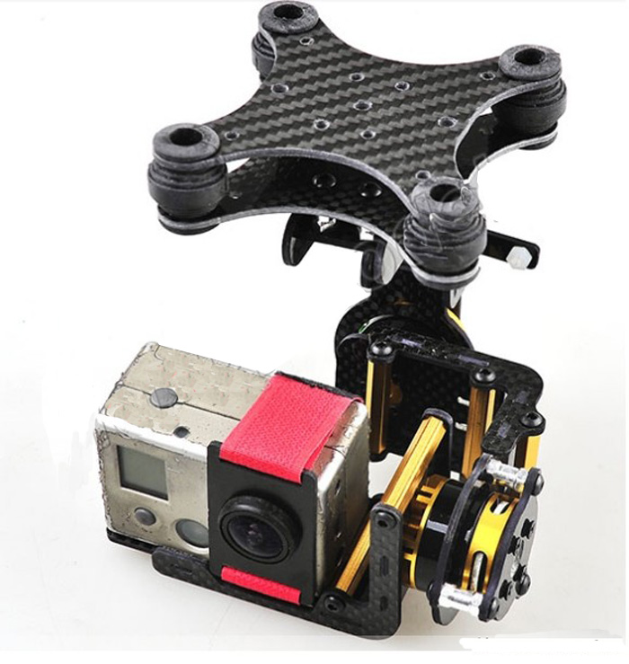 F05684 Carbon Fiber 2 axle Brushless Gimbal Camera Mount Full Set Plug & Play For Gopro Hero 2 FPV Phantom RC Quadcopter FS jmt brushless camera mount gimbal full set tested for gopro fpv aerial photography w motor control board