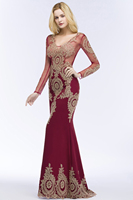 Babyonlinedress Long Sleeve Mermaid Lace Burgundy Evening Dress 2018 Sexy V Back Evening Gowns Robe de Soiree Longue 4