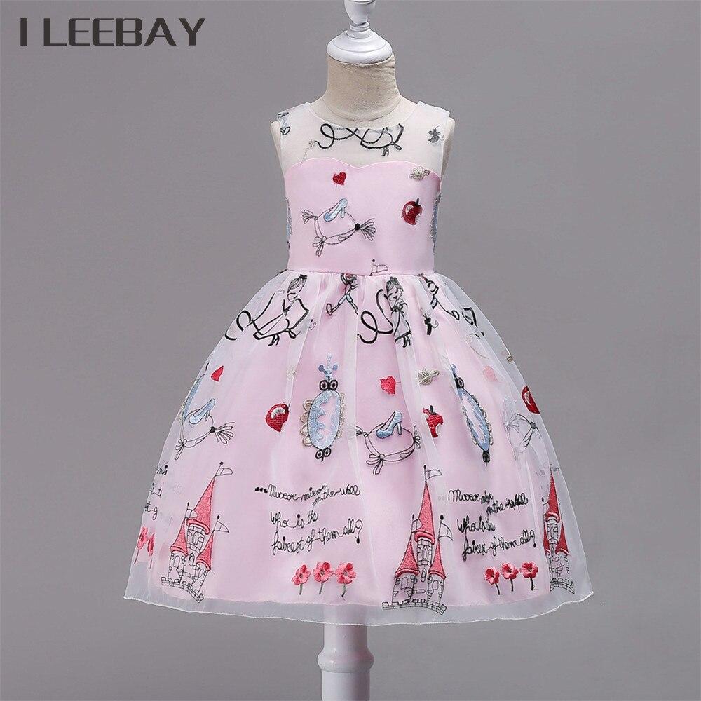 Flower Girl Wedding Dresses for Party Kids Princess Dresses for Girls Children Embroidery Costume Robe File Floral Tulle Vestido