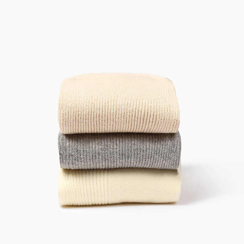 جوارب تشاوزو اليابانية الكورية الثانوية للبنات جوارب عالية فضفاضة ملونة صلبة إبر مزدوجة الحياكة القطن طويل الجوارب النسائية