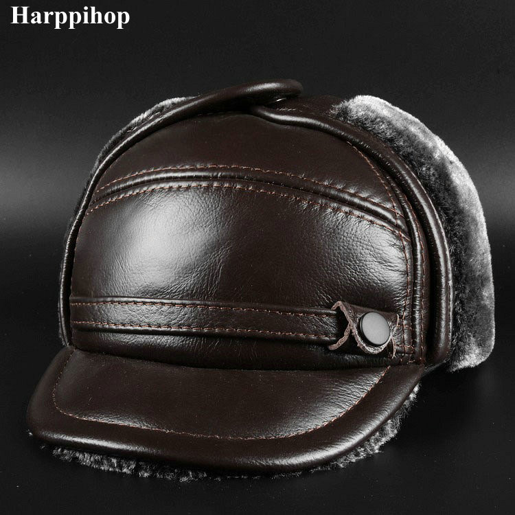 New Winter Leather Cap Men's Leather Cap In The Elderly Leather Hat Lei Feng Hat