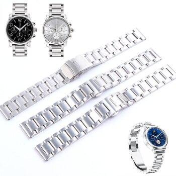 Correa de reloj de acero inoxidable sólido de plata 18mm 20mm 21mm 22mm 23mm 24mm 26mm 28mm correa de reloj de Metal relojes de pulsera