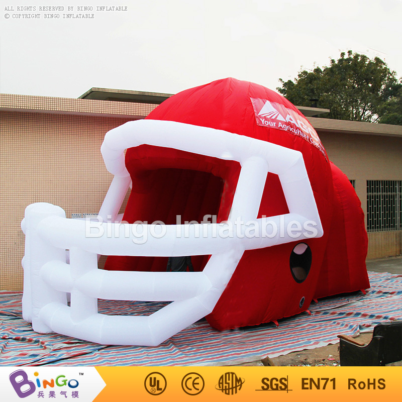 Customized red helmet inflatable tunnel,inflatable helmet tunnel for football game/racing