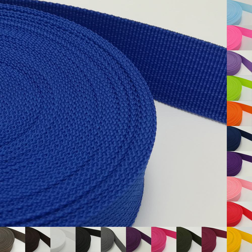 25mm Webbing 10m Long One Inch Colored 50 Color Available Polypropylene For Bag Sewing Belt Webbing Strapping Braided Strap