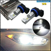 2pcs 6000K Xenon White Powered By Philips Luxen LED H11 H8 H9 Bulbs For Fog Lights