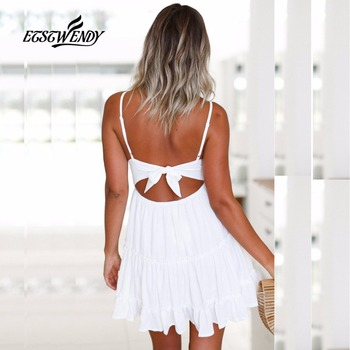 New 2018 Summer Dress Women Fashion V-Neck Spaghetti Strap Sexy Dress Women Backless Bow White Lace Mini Beach Dress Vestidos 1