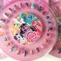 Moda Caliente 1 Unidades 24 unids My Little Pony Caja Del Clavo Falso pegatina Con lima de Uñas 1 Muchachas de Los Cabritos de Regalo Caliente Uñas Postizas