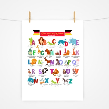 German Alphabet with Animals Nursery Wall Art Canvas Painting Education Poster Foreign Language Study Print Kids Room Art Decor