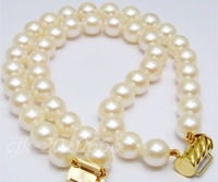 10 11MM 2 ROW AAA+ SUPERB JAPANESE AKOYA WHITE PEARL BRACELET 14k Noble style Natural Fine jewe Fast (D) SHIPPING
