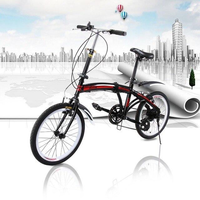 Велосипед рамка алюминиевого сплава 20''folding Велосипедный Спорт 7 Скорость v-тормоза пригородных Велосипедный Спорт складной педали МТВ дорожный мотоцикл 140-185 см rider