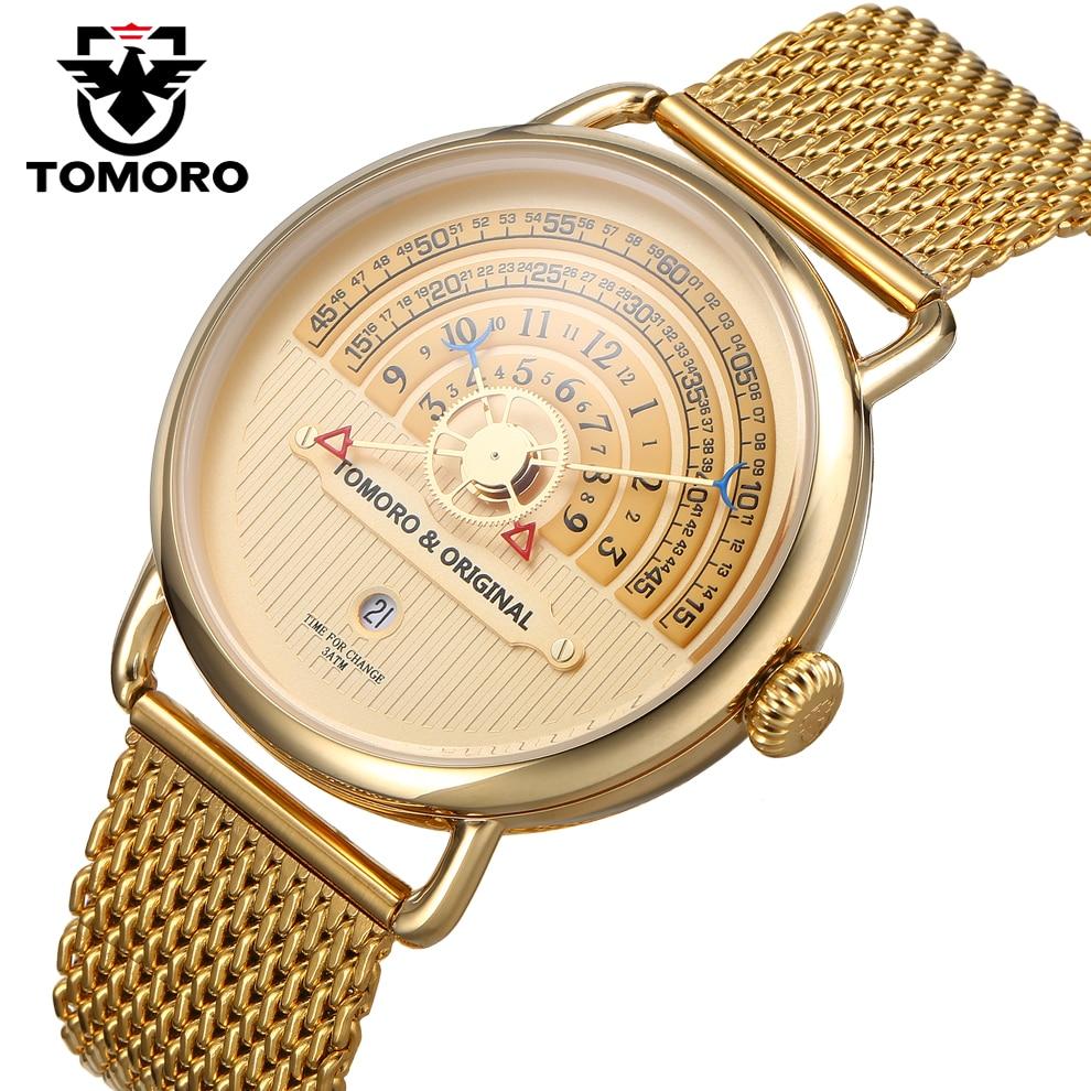ba84ebf6b46 TOMORO Original New Designer Men Vogue Relógios Único Casual Relógio de  Luxo de Ouro Masculino Data