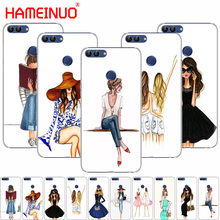HAMEINUO Beautiful Love Dress Shopping Girl cell phone Cover Case for huawei Honor 7C Y5 Y625 Y635 Y6 Y7 Y9 2017 2018 Prime PRO(China)